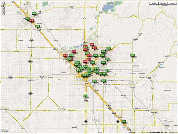 Google Map of Fresno
