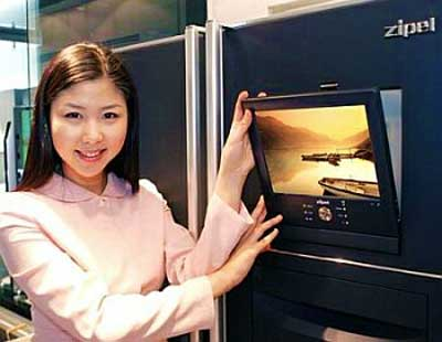 Samsung's flat panel fridge, with TV and Web connectivity